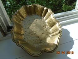 Barokk hullámos peremű ovális súlyos tömör réz asztalközép/kínáló
