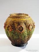 Zsolnay Tiger Mázas Váza 1880. Kaspó Lámpa Dekoráció 20x18cm