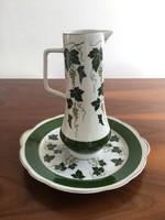 Hibátlan Spechtsbrunn szőlőlevél mintás, vintage, retro porcelán kancsó és tál