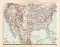 Amerikai Egyesült Államok térkép 1881, német, eredeti, régi