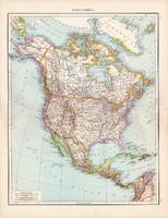Észak - Amerika térkép 1881, német, eredeti, régi