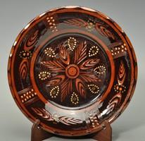 Teimel Óbánya falitányér.Ritka szép barna szinű. 24,5 cm