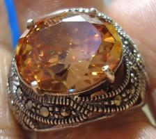 925 ezüst gyűrű morganitokkal, markazitokkal, 18,3/57,5 mm