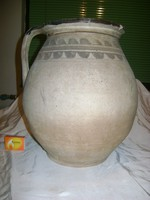Antik vászon fazék, agyag főzőedény - 34 cm magas