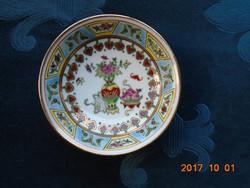 JINGDEZHEN Kézzel festett aranyozott Pillangó,gyümölcs,virág mintákkal díszített kis tál-9,8 cm