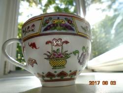 JINGDEZHEN-Kézzel festett-aranyozott-Pillangó,gyümölcs,virág mintákkal díszített kínai csésze