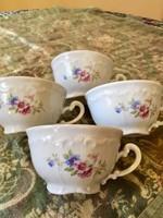 4 db Barokk Zsolnay ritka virágos teás csésze