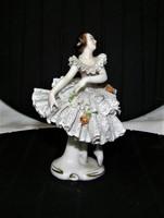 Antik Csipkeruhás Balerina  Volkstedt  porcelán