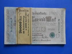Banki köteg 1000 márka 1910 zöld pecsét, és sorszám