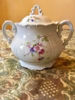Barokk Zsolnay ritka virág mintájú cukortartó teás készlethez
