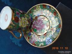 """Dombor mázas""""1000 virág""""- mintás kínai kávés csésze alátéttel"""