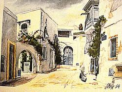 Casablancai utcakép, akvarell litográfia