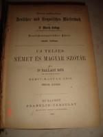 Dr Ballagi Mór- Német-Magyar szótár