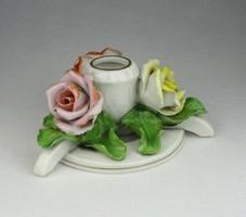 0P032 Régi Herendi porcelán 3 rózsás gyertyatartó