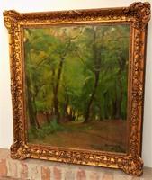 Benkhard Ágost (1882-1961) Erdőbelső 1929 c. olajfestménye 100x90cm eredeti GARANCIÁVAL !!!