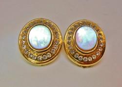 Szépséges antik gyöngyház button  fülbevaló