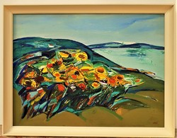 Végh András ( 1940-) Balatoni táj napraforgókkal c. Képcsarnokos olajfestménye 86x66cm Garanciával