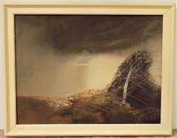 Balogh Ervin ( 1925 - ) Vihar c. képcsarnokos olajfestménye 92x72cm Eredeti Garanciával !!!