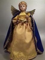 Kerámia fejű angyal baba asztaldísz karácsonyfa csúcsdísz