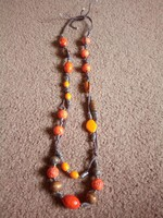Régi bizsu nyaklánc narancs és barna szinekkel,!