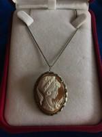 Egyedi antik ezüst kamea medál/bross