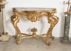 XIX. századi barokk stílusú konzol asztal