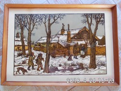 Gácsi Mihály (1926-1987): Tél. Színezett linómetszet, papír, jelzett, üvegezett keretben