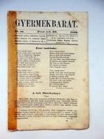 1862 október 23  /  Gyermekbarát  /  RÉGI EREDETI ÚJSÁG Ssz.: 528