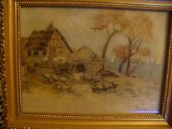 TÁJKÉP Tóparti ház csónakkal 1902.