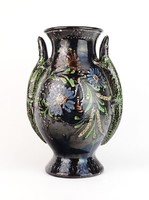 0P057 Szalamandrás vásárhelyi kerámia váza 32.5 cm