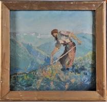 Ismeretlen művész: Kaszáló férfi,1920 k.