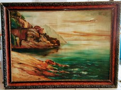 Dunakanyar hatalmas jelzett olaj festmény eredeti alkotás gyönyörű keretben 110x150 cm