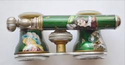 Tűzzománc színházi látcső miniatűr arckép festéssel azsúr-zománc gyöngyház berakással