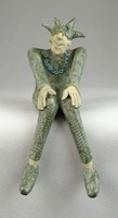 0O801 Jelzett kortárs kerámia bohóc szobor