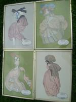 4 db litográfia 1775-1790-1795-1780- méretük:43 x 31 szép állapotban ...