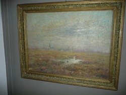 Klimó István (1883-1961) Nagy méretű szignált antik olaj-vászon festmény szép keretben eladó