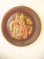 Art deco vörösréz Don Quijote-s falitányér,dísztnyér,falidísz