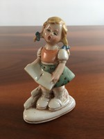 Hibátlan antik német kislány porcelán szobrocska