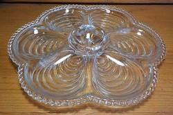 Vastag öntött üveg kínáló , asztalközép