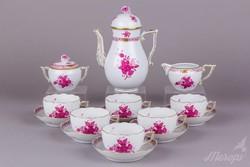 6 személyes Herendi Apponyi purpur mintás teáskészlet