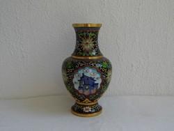 Extra dús mintájú régi kínai rekeszzománc váza hibátlan állapotban