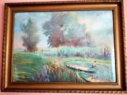 Pazar,,csodálatos látványt nyújtó Balatoni festmény,jelzett