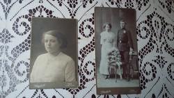 Két kemény táblás fotó Pécsről (Klapok A.) a múlt század elejéről: esküvői ill. az ifjú ara portréja