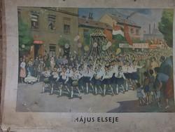 Retro Május elseje-Iskolai szemléltető 1960 Tankönyvkiadó