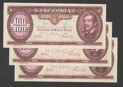 100 forint 1995.  3 db sorszám követő!!  UNC!!  RITKA!!!!