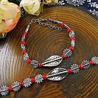 Tibeti ezüst Jade gyöngyös karkötő piros színben