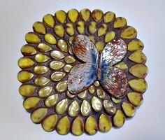 Jelzett pillangó napraforgó kerámia fali kép , iparművész kerámia