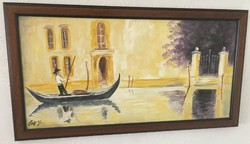 Csík János (1975-): Szerelmes gondolás. Olaj, farost, jelzett, 34 × 64 cm