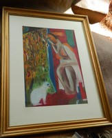 Kubista stílusú jelzett festmény : Nő fehér macskával