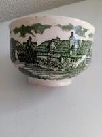 A régi vidéki Anglia képeivel  zöld mintás teás csésze